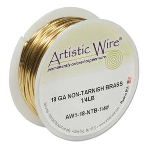 Artistic Wire 18ga Non-Tarnish Brass per 49ft (14m) 1/4 lb (0.11kg) Spool