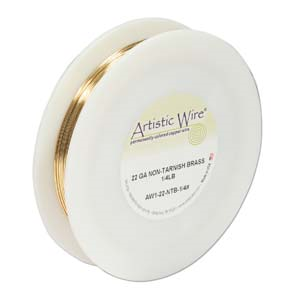 Artistic Wire 22ga Non-Tarnish Brass per 125.5ft (38.3m) 1/4 lb (0.11kg) Spool