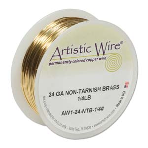 Artistic Wire 24ga Non-Tarnish Brass per 198ft (60.4m) 1/4 lb (0.11kg) Spool