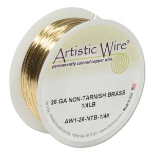 Artistic Wire 26ga Non-Tarnish Brass per 315.3ft (96.1m) 1/4 lb (0.11kg) Spool