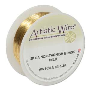 Artistic Wire 28ga Non-Tarnish Brass per 498.3ft (151.9m) 1/4 lb (0.11kg) Spool