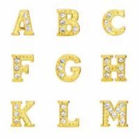 Floating Living Locket Charms, Crystal Rhinestone Gold Alphabet Full Set of Letters A-Z (26pc