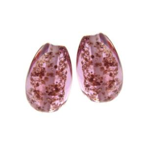 Amethsyt Glitter Flakes Earring Egg Drops - Artisan Glass Lampwork Beads (x2 bead set)