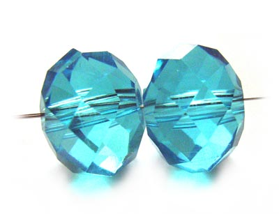 Imperial Crystal Roundelle Beads 12x9mm Aquamarine x10