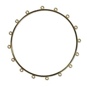 "Bracelet Bangle - Beadable, Looped for Beading - 3"" diameter Gold Plated x1"