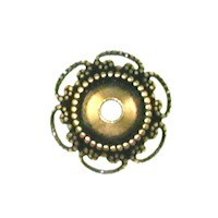 Trinity Brass Antique Gold 10mm Fancy Bead Cap x1