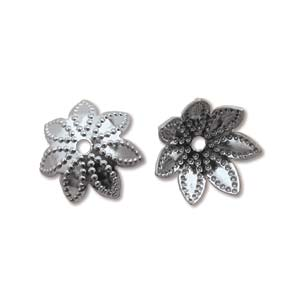 Base Metal Bead Caps - Flower Petal 9mm Gunmetal Black Oxide Plated x144