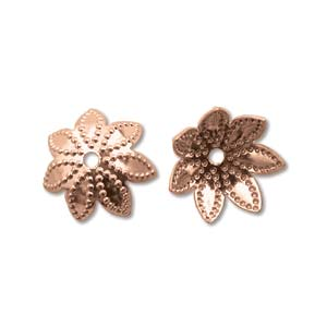 Base Metal Bead Caps - Flower Petal 9mm Copper Plated x144
