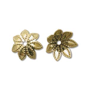Base Metal Bead Caps - Flower Petal 9mm Gold Plated x144