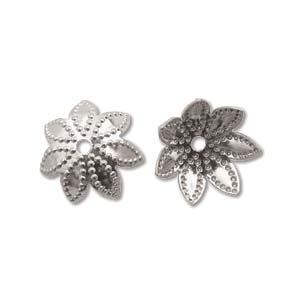 Base Metal Bead Caps - Flower Petal 9mm Nickel Plated x144