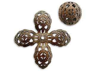 Vintaj Natural Brass 20mm Round Filigree Bead Wrap x1