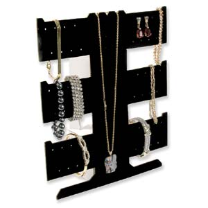 Bracelet, Necklace & Earring Jewellery Display - Black Velveteen