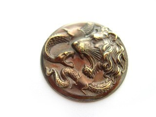 "Vintaj Natural Brass - 1 1/4"" - 30mm Lion Snake Figural - no hole x1"