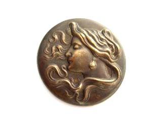 "Brass VINTAJ - Natural - 1 1/4"" - 30mm Nouveau Woman Cameo - no hole x1"