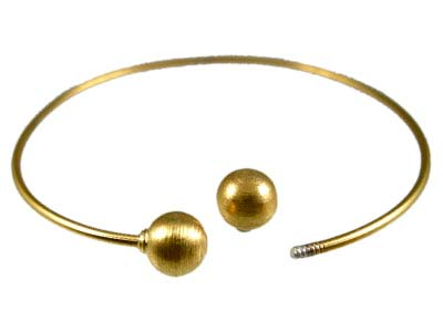 Balinese Gold Vermeil 1.5mm diameter - 65mm Adjustable Bangle -add-a-bead- Brushed Bead ends x1