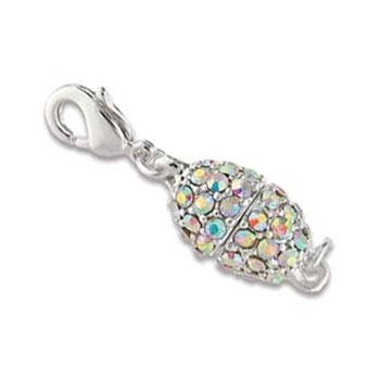 Beadelle Silver Plated Crystal AB Rhinestone Magnetic Clasp x1