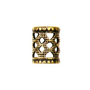 Trinity Brass Antique Gold 8x6mm Filigree Tube Bead x1