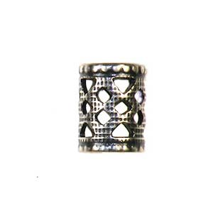 Trinity Brass Antique Silver 8x6mm Filigree Tube Bead x1