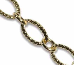Gold Base Metal Patterned Chain Link 9x6mm x1ft - 30cm