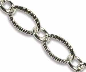 Silver Base Metal Patterned Chain Link 9x6mm x1ft - 30cm