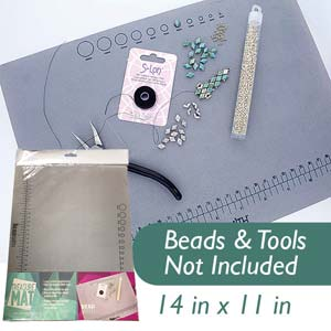 Beadsmith Treasure Bead Mat , Non Slip Jewellery Working Surface, 14x11 in