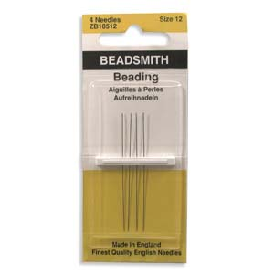 Beadsmith - ZB10512 Size 12 English Beading Needles x4