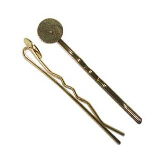 Gold Plated Hair Clip with 10mm Setting for Cabochons x1
