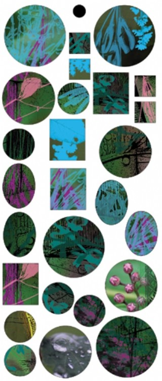 Vintaj Collage Sheet - for Bezels - Abstract Flowers
