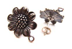 BALI Sterling Silver Large Sunflower Ear Posts inc backs x1pr