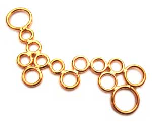 BALI Gold Vermeil Bubbles 50x24mm Link Connectors x1