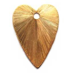 BALI Gold Vermeil 23x16mm Brushed Heart Charm ~ Pendant x1