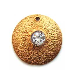 BALI Gold Vermeil Beautiful Textured Pendant ~ Cubic Zirconia