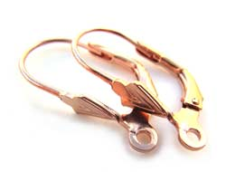 Thai Sterling 925 Rose Gold Vermeil Leverback Earrings x1 pr