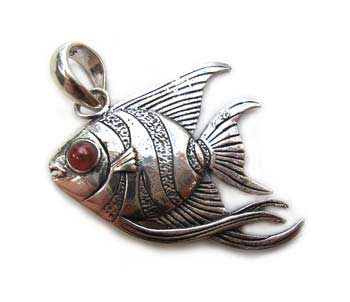 BALI Sterling Silver Beautiful Angel Fish Pendant ~ Red Carnelian eyes