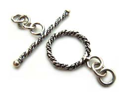 BALI Sterling Silver Fancy Twisted Wire Toggle 13mm - bar 26mm