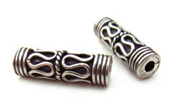 BALI Sterling Silver Beads - 13x4mm Barrel Bead x1