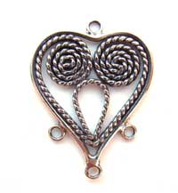 BALI Sterling Silver 25x20mm 3-Strand Heart Chandelier Pendant x1