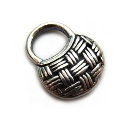 BALI Sterling Silver 12.8x10.4x3.3mm Purse Handbag Charm x1