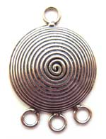 BALI Sterling Silver 23x16x6mm 3-Strand Conical Spiral Chandelier Pendant