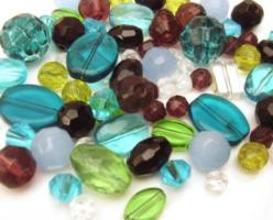 Glass Beads, Blues, Green Amethyst - Soup Mix 50 grams