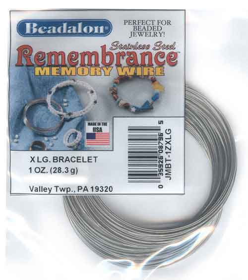 Beadalon Remembrance Memory Wire Extra Large Bracelet 0.62mm Bright Stainless Steel 1oz packet