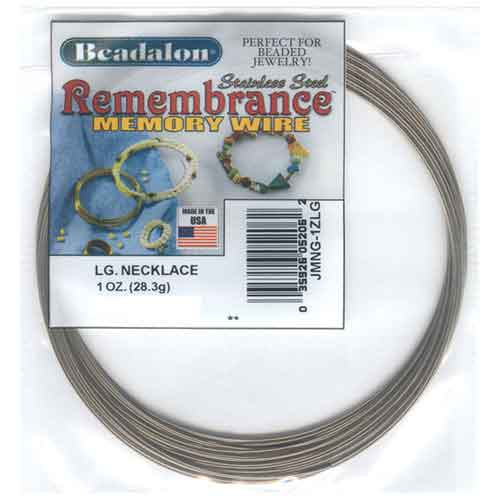 Beadalon Remembrance Memory Wire Large Necklace 0.62mm Bright Stainless Steel 1oz packet