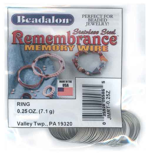 Beadalon Remembrance Memory Wire Ring 0.62mm Stainless Steel Bright 1/4oz packet