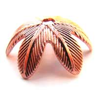 Pure 100% COPPER 10mm Leaf Bead Cap x2pc