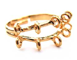 Beading Ring Gold Plated 10 loops adjustable x1