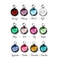 Birthstone Channel Bezel Crystal Charms - 6mm, Silver Tone - Full Set. (Add to cart, Spend £33 get 1 Free!)