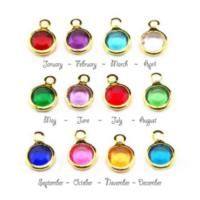 Birthstone Channel Bezel Crystal Charms - 6mm, Gold Tone - Full Set. (Add to cart, Spend £33 get 1 Free!)