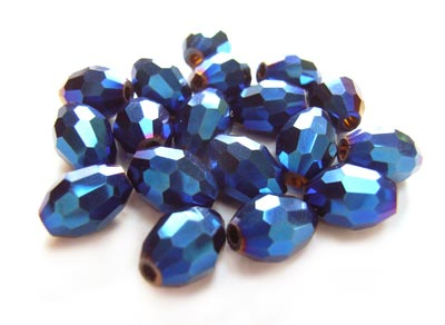 Firepolished Glass Olive Beads 9x6mm Blue Iris Metallic (72pc approx)