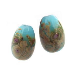 Blue Opal Raku Earring Egg Drops - Artisan Glass Lampwork Beads (x2 bead set)