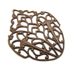 Vintaj Natural Brass 28x33mm Delicate Crest Filigree - wrap x1
